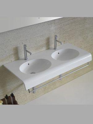 Bowl + lavabo doppia vasca sospeso