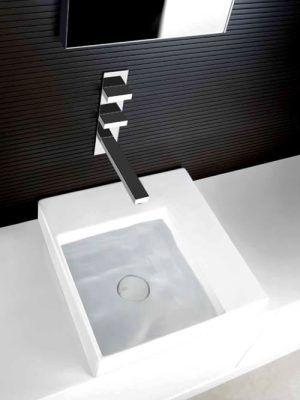 rettangolo t miscelatore lavabo parete