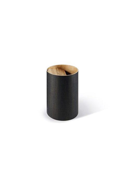 """""""Cesto portabiancheria in rovere lavorato artigianalmente, con coperchio inclinato che aiuta la caduta dei panni all'interno, diametro 250 x H 300 mm. Colore liquirizia """""""
