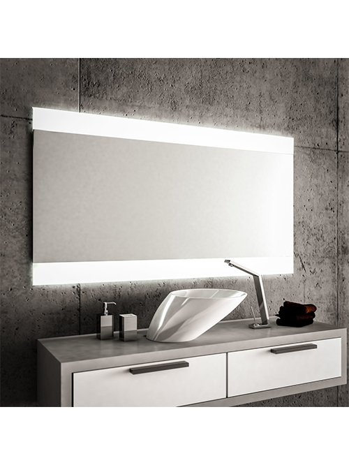 Specchio 2 fasce satinate retroilluminate led 80 x 60